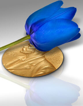 Blue tulip with Nobel Peace Prize, Fishbowl Inventory Blog