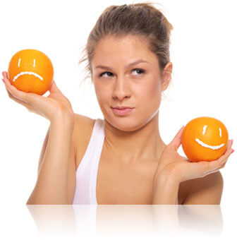 Woman comparing oranges, Fishbowl Inventory Blog