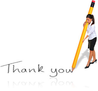 Woman writing thank you with a huge pencil, Fishbowl Inventory Blog