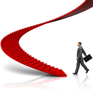 Businessman ascending staircase of success, Fishbowl Inventory Blog