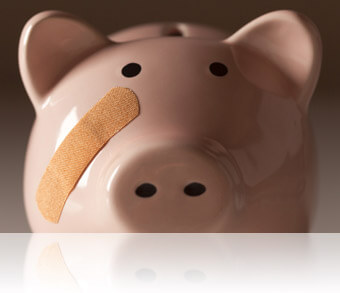 Piggy bank with bandage on face, Fishbowl Inventory Blog