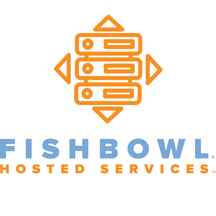 fishbowl hosted services image, has orange and blue colors