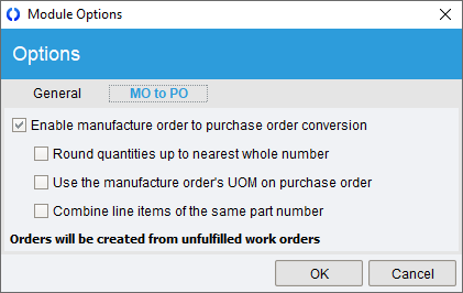 Manufacture Order Module Options MO to PO.png
